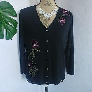 Valerie Stevens Silk Sweater w Embroidered Flowers